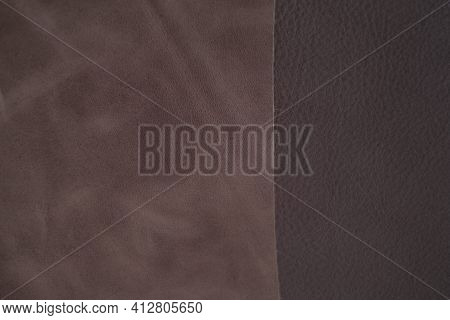 Leather Background. Texture Of Genuine Leather And Suede.leather Brown Pieces.genuine Leather Piece