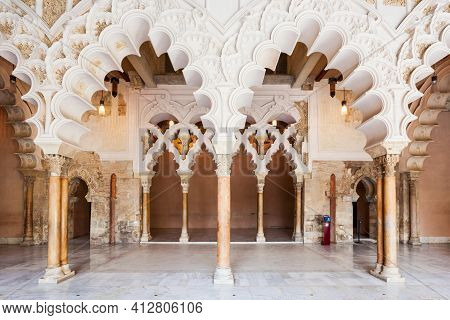 Zaragoza, Spain - October 01, 2017: Aljaferia Palace Or Palacio De La Aljaferia Is A Fortified Medie