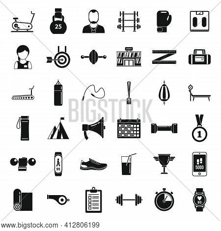 Personal Trainer Coach Icons Set. Simple Set Of Personal Trainer Coach Vector Icons For Web Design O