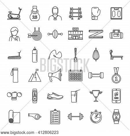 Gym Personal Trainer Icons Set. Outline Set Of Gym Personal Trainer Vector Icons For Web Design Isol