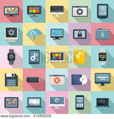 Operating System Icons Set. Flat Set Of Operating System Vector Icons For Web Design