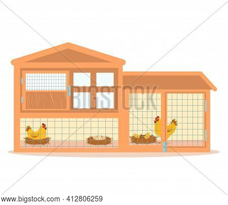 Vector Illustration Of A Wooden Chicken Coop With Hens Hatching Eggs. Isolated On A White Background