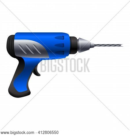 Drilling Machine Icon. Cartoon Of Drilling Machine Vector Icon For Web Design Isolated On White Back
