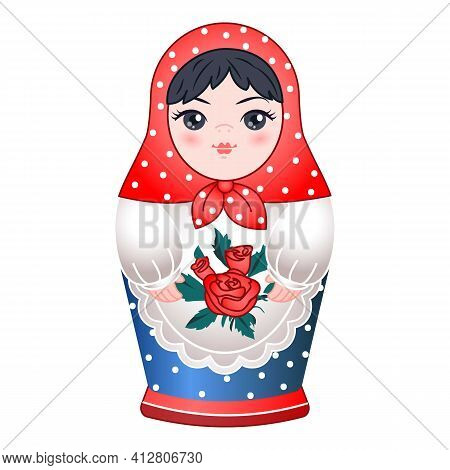 Wooden Russian Doll Icon. Cartoon Of Wooden Russian Doll Vector Icon For Web Design Isolated On Whit