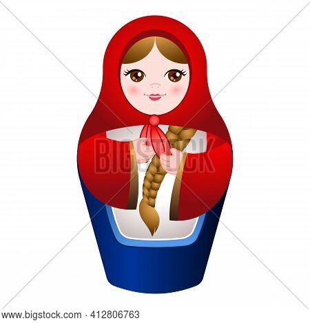 Craft Nested Doll Icon. Cartoon Of Craft Nested Doll Vector Icon For Web Design Isolated On White Ba