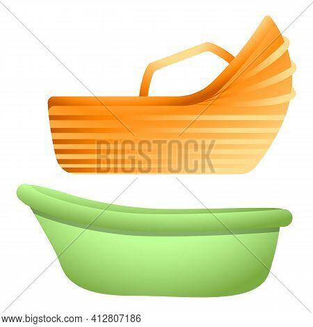 Baby Bathtub Icon. Cartoon Of Baby Bathtub Vector Icon For Web Design Isolated On White Background