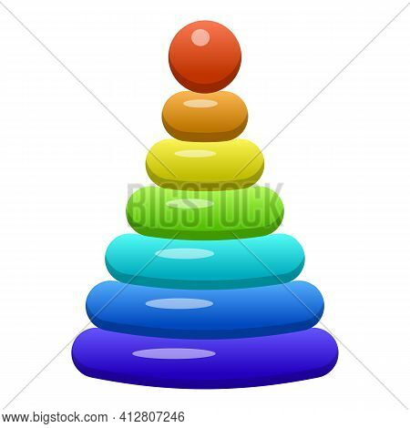Pyramide Toy Icon. Cartoon Of Pyramide Toy Vector Icon For Web Design Isolated On White Background
