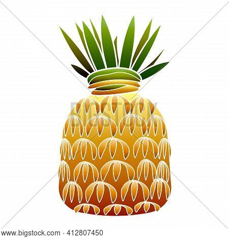 Pineapple Fruit Icon. Cartoon Of Pineapple Fruit Vector Icon For Web Design Isolated On White Backgr