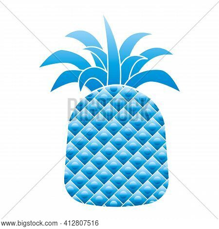 Blue Pineapple Icon. Cartoon Of Blue Pineapple Vector Icon For Web Design Isolated On White Backgrou
