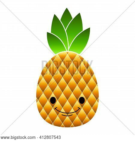 Smile Pineapple Icon. Cartoon Of Smile Pineapple Vector Icon For Web Design Isolated On White Backgr