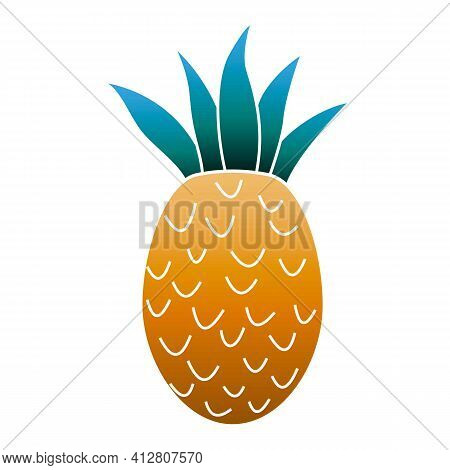 Whole Pineapple Icon. Cartoon Of Whole Pineapple Vector Icon For Web Design Isolated On White Backgr