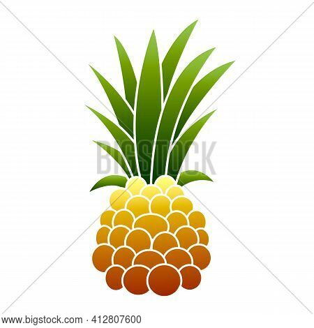 Raw Pineapple Icon. Cartoon Of Raw Pineapple Vector Icon For Web Design Isolated On White Background