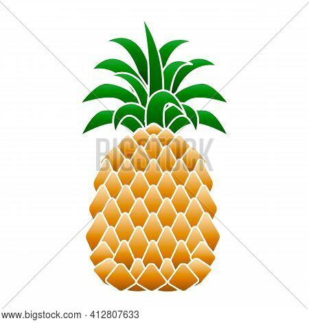 Summer Pineapple Icon. Cartoon Of Summer Pineapple Vector Icon For Web Design Isolated On White Back