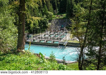 Hydroelectric Power Plant On Doron River In Vanoise National Park Valley, French Alps