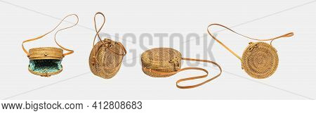 Fashionable Round Rattan Bag Isolated On Gray Background. Summer Women's Bag, Eco-friendly Natural O