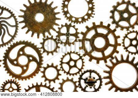 Gears Isolated On White Background.steampunk Details. Clockwork Details.gears. Time And Events Conce