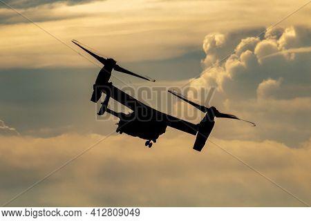 Fairford, United Kingdom - July 13, 2018: United States Air Force Usaf Boeing Cv-22b Osprey 11-0058