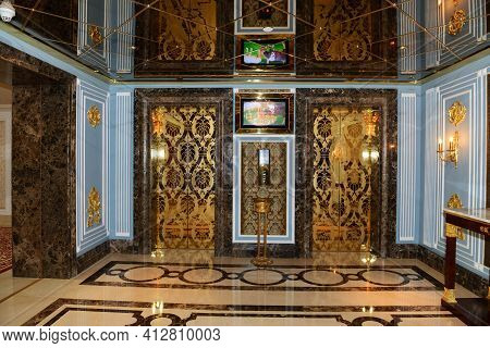 Antalya, Turkey - April 23: The Lobby Of Mardan Palace Luxury Hotel, It Is Considered Europe's Most