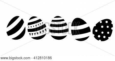Black And White Easter Eggs . Spring, Easter. Stock Vector Easter Illustration Isolated On White Bac