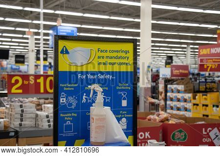 Courtenay, Canada - October 18,2020: Close Up View Of Sign Inside Of Walmart Store