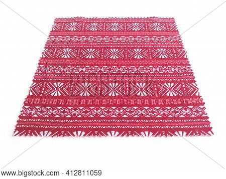 Ethnic Textile With White Geometric Print. Fabric Close Up. Perspective And Aerial View Of Red Cloth