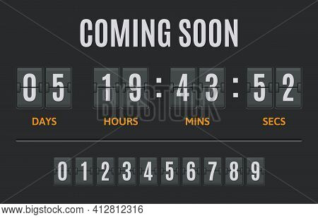 Countdown Flip Timer. Flip Clock Days, Hours And Minutes Counter, Flipclock Counting Display. Date T