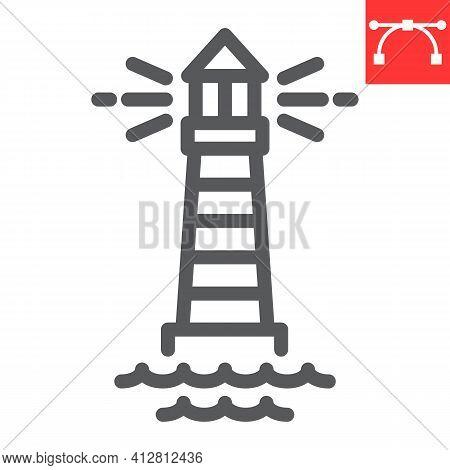 Lighthouse Line Icon, Sea And Ocean, Lighthouse Vector Icon, Vector Graphics, Editable Stroke Outlin