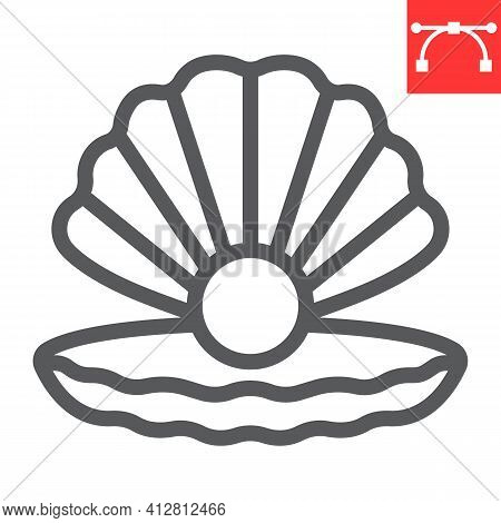 Seashell With Pearl Line Icon, Shell And Ocean Animals, Open Seashell Vector Icon, Vector Graphics,