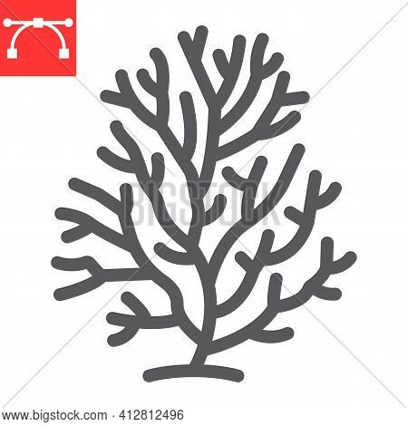 Coral Line Icon, Sea And Ocean Animals, Coral Reef Vector Icon, Vector Graphics, Editable Stroke Out