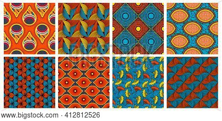 Ethnic Wax Textile Pattern. African Abstract Wax Seamless Ornaments Vector Background Illustration S