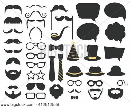 Fathers Day Photo Booth Props. Photo Booth Speech Bubble, Moustaches, Glasses And Beard Props. Happy