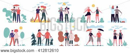 Different Seasons. Couples Walk At Various Weather, Summer Heat, Winter Snowfall And Autumn Rain. Co
