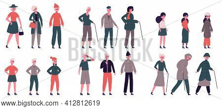 People In Seasonal Clothes. Adult, Elderly, Teenager And Child Characters Dressed For Various Weathe