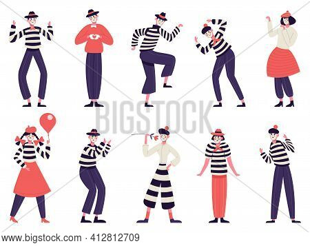 Mimes Characters. Silent Actors, Pantomime And Comedy Performing, Funny Mimic Poses. Male And Female
