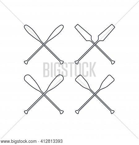 Crossed Oar Sign In Line Style, Vector