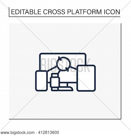 Cross Device Syncing Line Icon.synchronizing All Information In Different Devices. Connecting To Dev