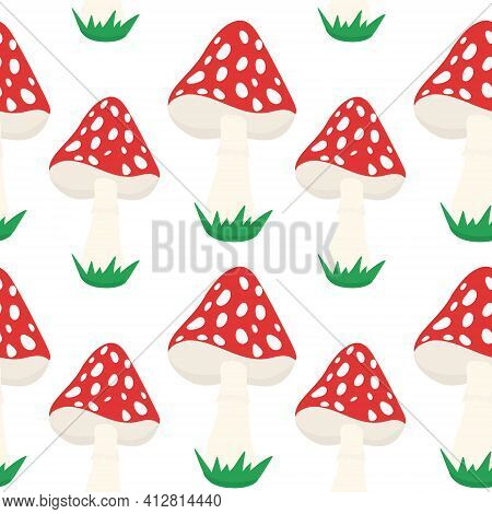Seamless Background With Amanita. A Repeating Pattern With Red Poisonous Mushrooms. Vector.