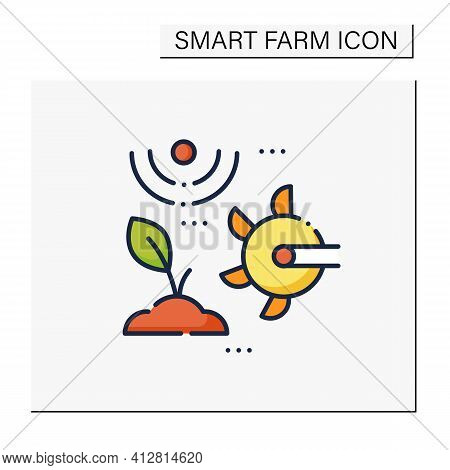 Soil Tilling Color Icon. Agricultural Preparation Of Soil By Mechanical Agitation. Using Digging, St