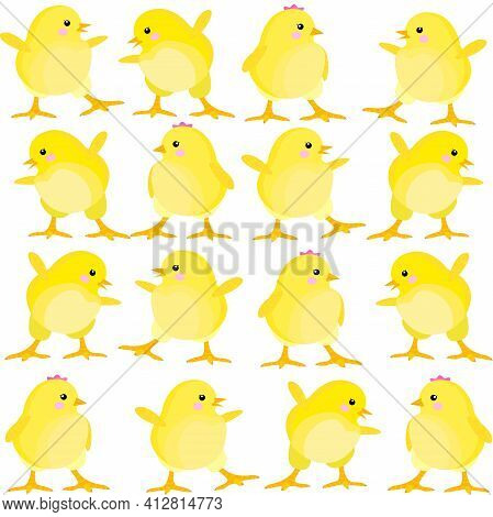 Seamless Pattern With Easter Chicks. Chickens On The Farm. Childish Pattern With Easter Chickens On
