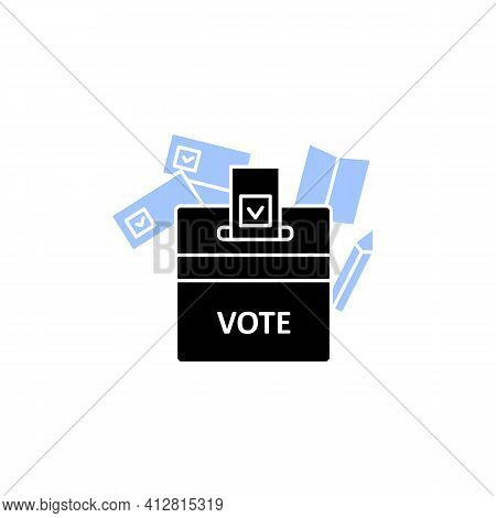 Vote Box Glyph Icon. Voting Form With Check Mark In Ballot Box. Choice, Vote Concept. Democracy. Par