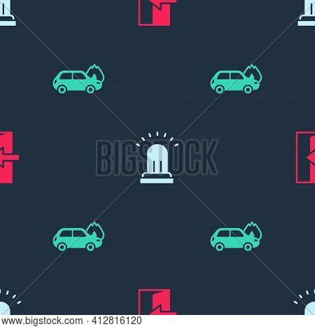 Set Fire Exit, Ringing Alarm Bell And Burning Car On Seamless Pattern. Vector