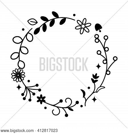 Wildflower Wreath. Vector Stock Illustration For Poster Or Card