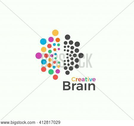 Creative Brain Vector Logo Template In Colored Dots Style. Creative Imagination, Inspiration Abstrac