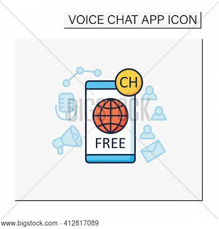 Free Application Color Icon. Chatting For Everyone. Public App. Global Social Media. Communication C