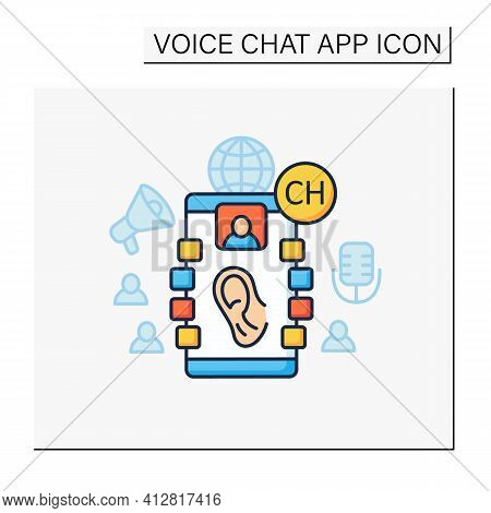 Listeners Color Icon. Listening Lecture. Hearing Voice Messages. Abstract Communication Room With Fr