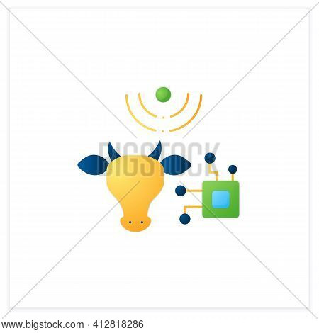 Rfid Animal Identification Flat Icon. Digitalization In Agriculture. Device For Monitoring Animal He