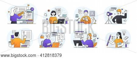 Set Of Eight Different Professions For Journalist, Copywriter, Content Manager, Blogger At Work In T