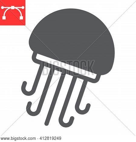 Jellyfish Glyph Icon, Sea And Ocean Animals, Jellyfish Vector Icon, Vector Graphics, Editable Stroke