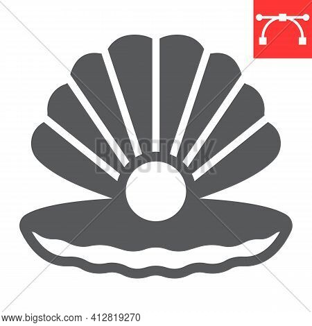 Seashell With Pearl Glyph Icon, Shell And Ocean Animals, Open Seashell Vector Icon, Vector Graphics,