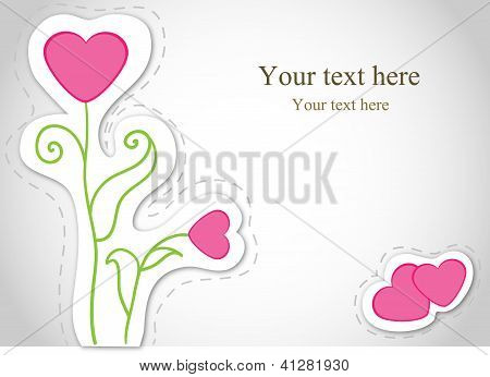 Vector card with flowers. Valentine.